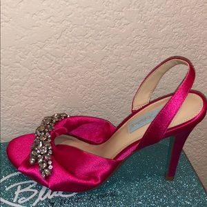 Betsey Johnson Satin Gem Pink Heels (Blue Bottom)
